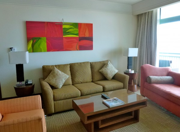 Living room area in Oceanview Suite at The Reef Atlantis