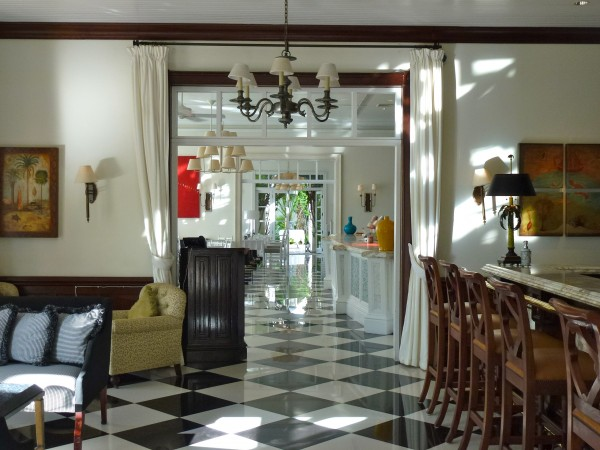 Looking through the bar to main dining room at Regent Palms