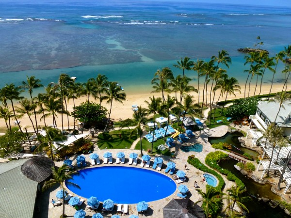 View of The Kahala's pool and beach