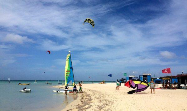 Wind-surfing and kite-surfing on Palm Beach in Aruba