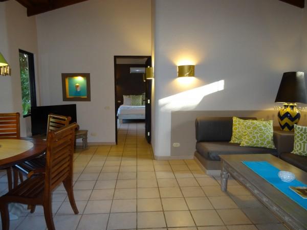 Living room area in 2 bedroom villa at Cala Luna