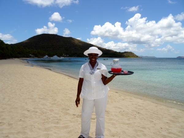 Beach staff at Little Dix Bay