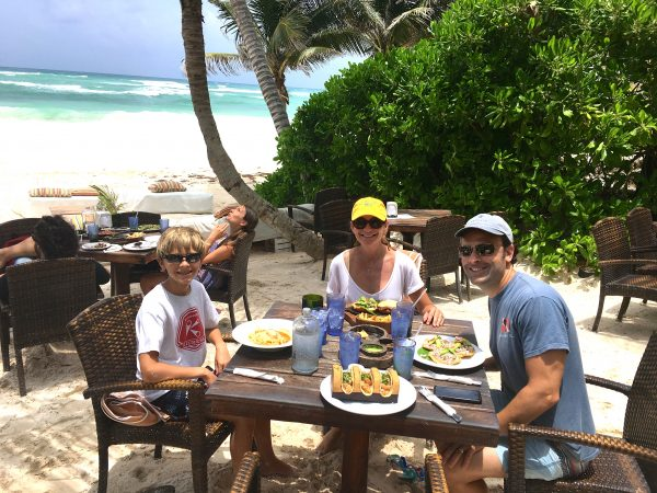 Lunch at a beach club on Tulum beach
