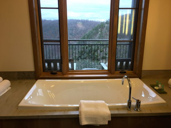 Bathroom of a Cedar Bluff room, Primland Resort