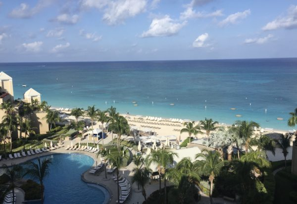 View of Seven Mile Beach and main pool area, Ritz Carlton Grand Cayman