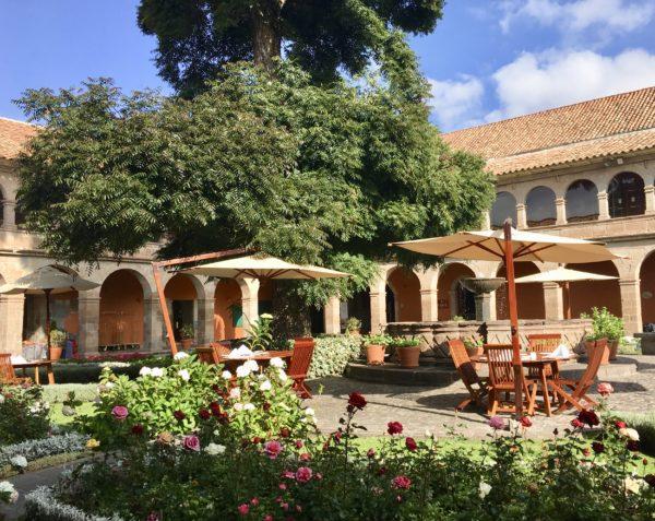 Beautiful courtyard at Belmond Monasterio in Cusco, Peru