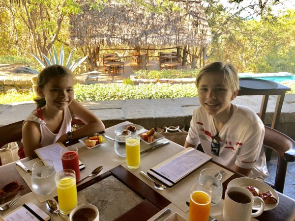 Enjoying breakfast at Morgan's Rock, Nicaragua