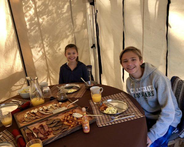 Breakfast, luxury camping site